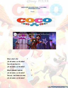 Interactive worksheet Coco Song