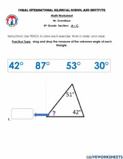 Interactive worksheet Angles of triangles