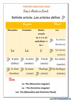 Ficha interactiva French Articles