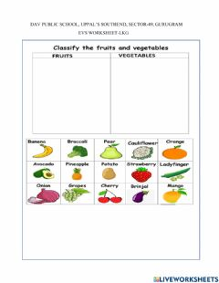 Ficha interactiva Classify fruits and vegetables