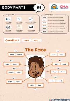 Interactive worksheet Parts of the Body - Vocabulary