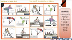 Interactive worksheet Forces and motion: Tuesday's Activity