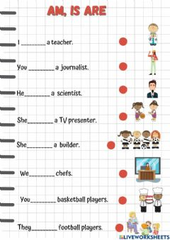 Interactive worksheet Am-is-are professions