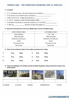 Interactive worksheet Middle Ages IN SPAIN