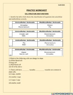 Interactive worksheet Cell structure and functions