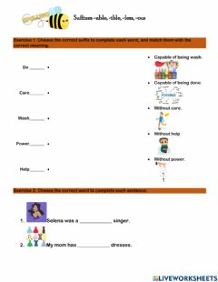 Interactive worksheet Suffixes -able, -ible, -ous, -less