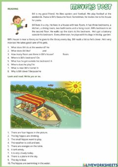 Interactive worksheet Movers test