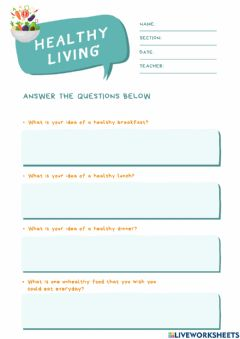 Interactive worksheet Healthy Eating Day