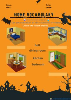 Interactive worksheet Home Vocabulary