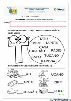 Interactive worksheet Consoante T
