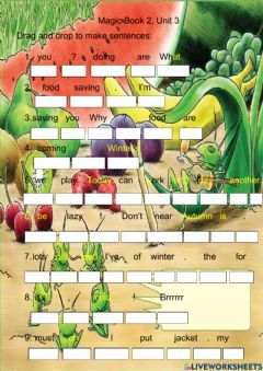 Ficha interactiva Magic book 2 unit 3 the ant and the cricket sentence building