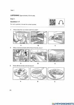 Interactive worksheet Authentic Practice Tests B1 Preliminary (PET) - Listening 1