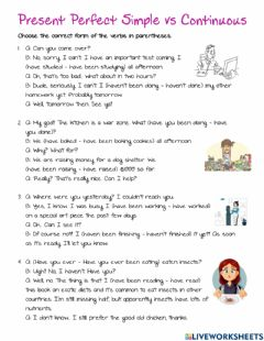 Interactive worksheet Present Perfect Cont. 2