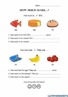 Interactive worksheet How much is-are...?