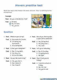 Interactive worksheet Movers practice test (UNIT 2)