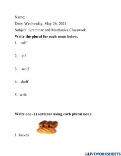 Interactive worksheet F or fe to ves