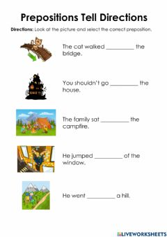 Interactive worksheet Prepositions Tell Directions