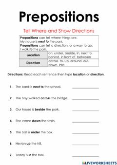Interactive worksheet Prepositions of Directions and Locations