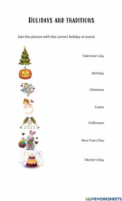 Ficha interactiva Holidays and traditions - simple present