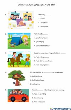 Interactive worksheet Vacation activity class 2 chapter 9 &nia