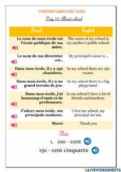Ficha interactiva About school and numbers (41-50) in French