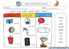 Interactive worksheet Objects and states of matter