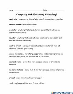 Interactive worksheet Electricity Information and Vocabulary