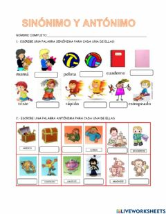 Interactive worksheet Sinónimo y antónimo