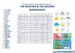 Ficha interactiva The Weather & The Seasons - Wordsearch