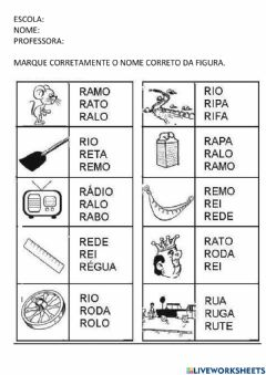 Interactive worksheet Assinale nome correto