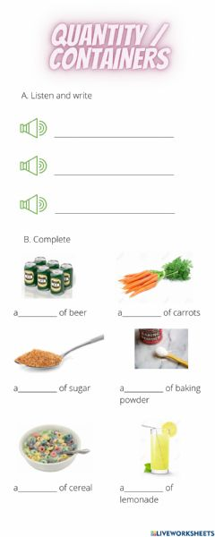 Interactive worksheet Quantity & Containers 1