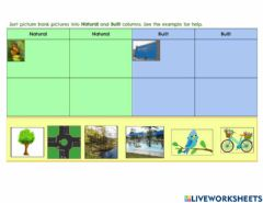 Interactive worksheet Natural or Built Features 1