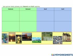 Interactive worksheet Natural or Built Features 2