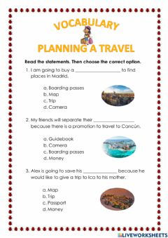 Interactive worksheet Vocabulary: Planning a travel