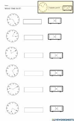 Interactive worksheet Time Past The Hour