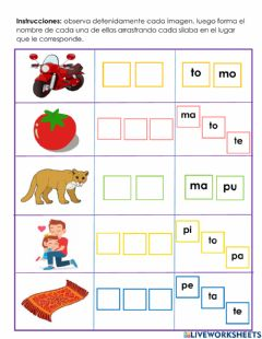 Interactive worksheet Palabras con m, p, t