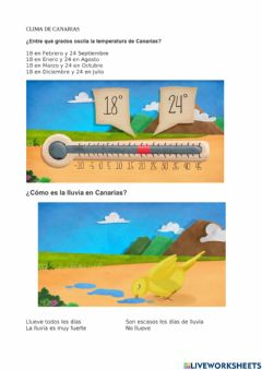Interactive worksheet Clima Canrias