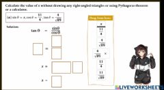 Ficha interactiva Calculate the value of x without drawing any right-angled triangles or using Pythagoras theorem or a calculator.