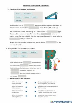 Interactive worksheet Inventions Throughout History