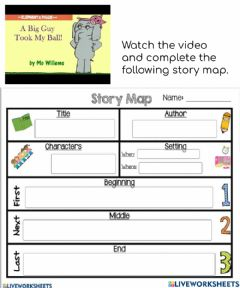 Interactive worksheet Story Elements - A Big Guy Took My Ball