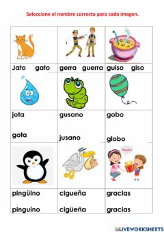 Interactive worksheet Lectura con G