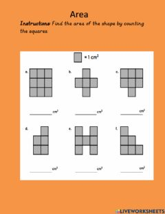 Interactive worksheet Area- Count the squares
