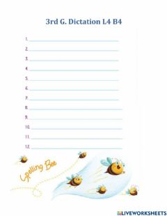 Interactive worksheet 3rd G. L4 B4 Dictation