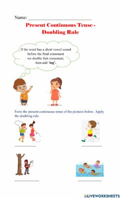 Interactive worksheet Present Continuous Tense Doubling
