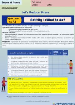 Interactive worksheet Let-s reduce stress