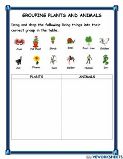 Ficha interactiva Living Things - Plants and Animals