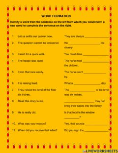 Interactive worksheet Word formation 11