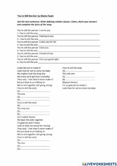 Interactive worksheet Song - You're still the one