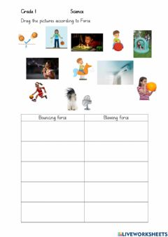 Interactive worksheet Blowing and bouncing force