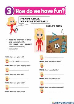 Interactive worksheet Toys and activities